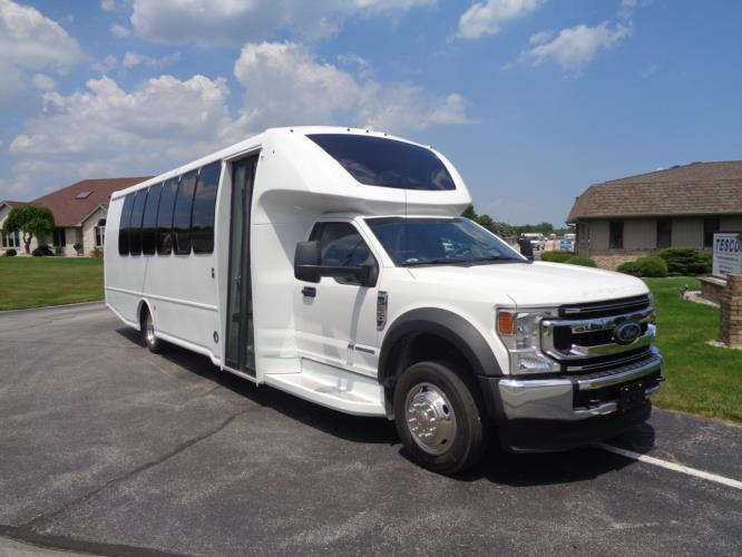 2020 Turtle Top Odyssey XL Ford 28 Passenger Shuttle Bus Passenger side exterior front angle-108511-1