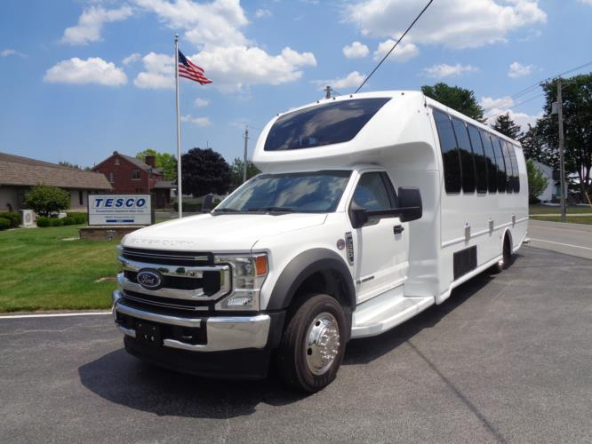 2020 Turtle Top Odyssey XL Ford 28 Passenger Shuttle Bus Driver side exterior front angle-108511-2