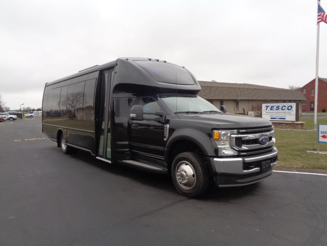 2022 Turtle Top Odyssey XL Ford 28 Passenger Luxury Bus Passenger side exterior front angle-108740-1