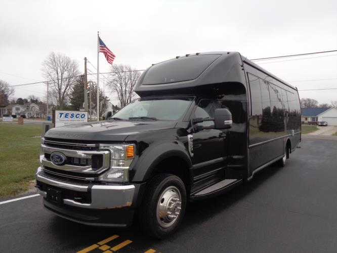 2022 Turtle Top Odyssey XL Ford 28 Passenger Luxury Bus Driver side exterior front angle-108740-2