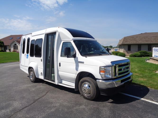 2021 Turtle Top VanTerra XL Ford 9 Passenger and 2 Wheelchair Shuttle Bus Passenger side exterior front angle-397257-1