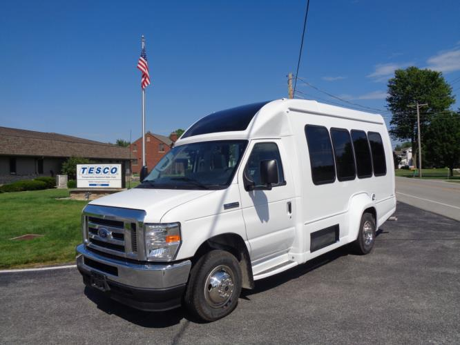 2021 Turtle Top VanTerra XL Ford 9 Passenger and 2 Wheelchair Shuttle Bus Driver side exterior front angle-397257-2