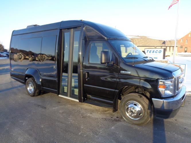 2022 Turtle Top VanTerra Ford 13 Passenger Luxury Bus Passenger side exterior front angle-397306-1