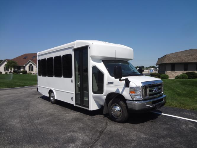 2021 Turtle Top Terra Transit Ford 14 Passenger Shuttle Bus Passenger side exterior front angle-501340-1