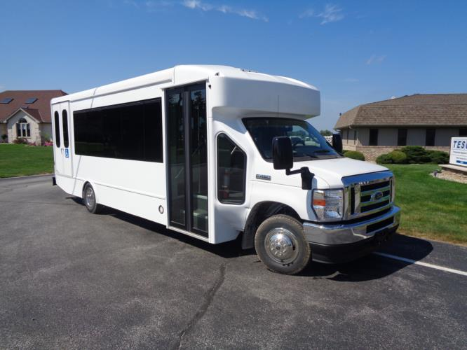 2020 Turtle Top Terra Transit Ford 6 Passenger and 3 Wheelchair Shuttle Bus Passenger side exterior front angle-501392-1