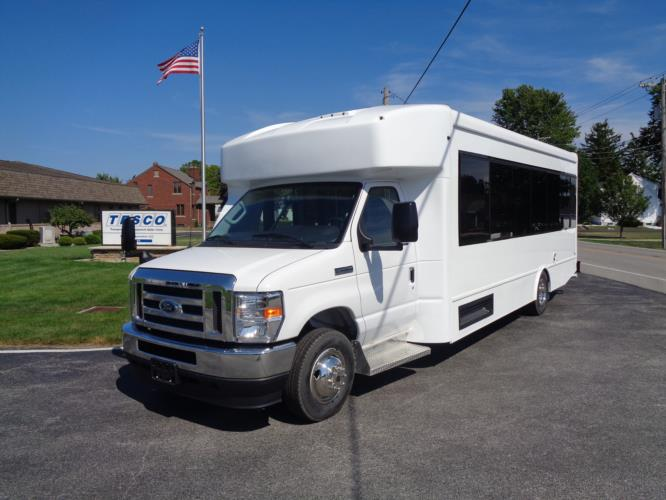 2020 Turtle Top Terra Transit Ford 6 Passenger and 3 Wheelchair Shuttle Bus Driver side exterior front angle-501392-2