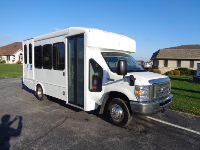 2020 Turtle Top Terra Transit Ford 0 Passenger and 7 Wheelchair Shuttle Bus Passenger side exterior front angle-501539-1