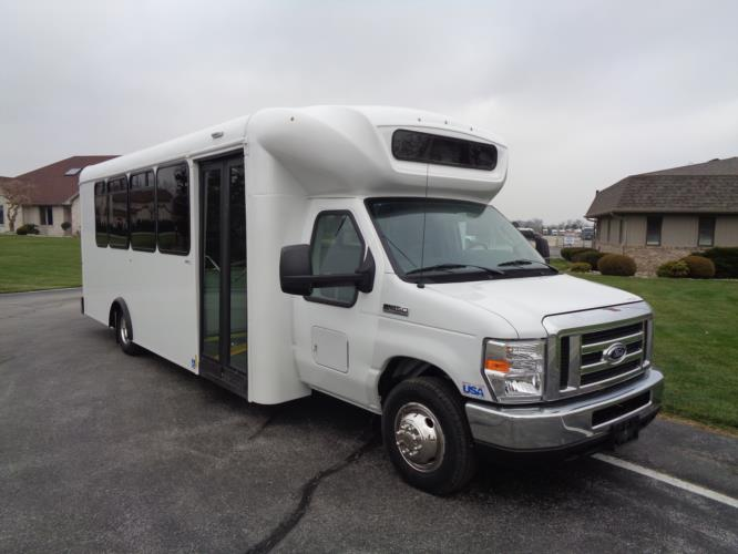 2020 ARBOC Spirit of Mobility Ford 12 Passenger and 2 Wheelchair Shuttle Bus Passenger side exterior front angle-AR3004196-1