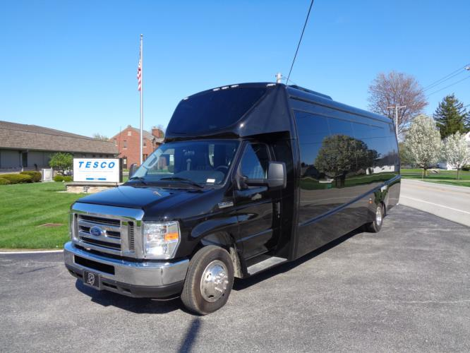 2020 Berkshire Coach Ultra 28 Ford 23 Passenger Luxury Bus Driver side exterior front angle-BERK2081-2