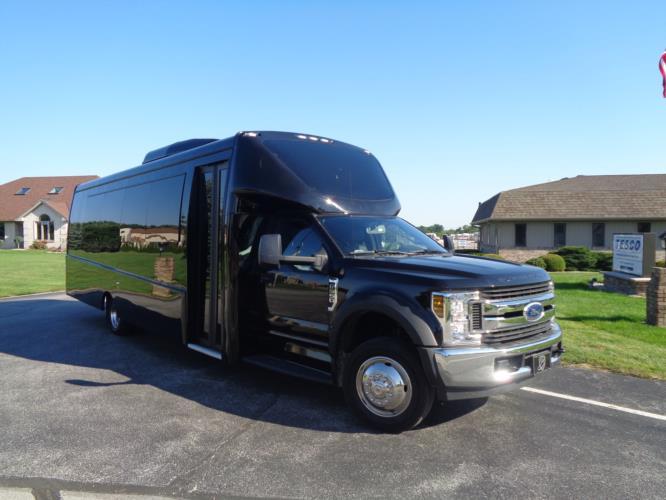 2020 Berkshire Coach Ultra 34 Ford 28 Passenger Luxury Bus Passenger side exterior front angle-BERK2089-1