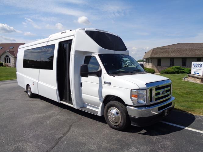 2021 Berkshire Coach Ultra 28 Ford 23 Passenger Luxury Bus Passenger side exterior front angle-BERK2112-1