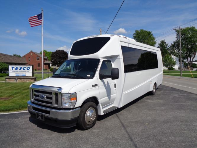 2021 Berkshire Coach Ultra 28 Ford 23 Passenger Luxury Bus Driver side exterior front angle-BERK2112-2