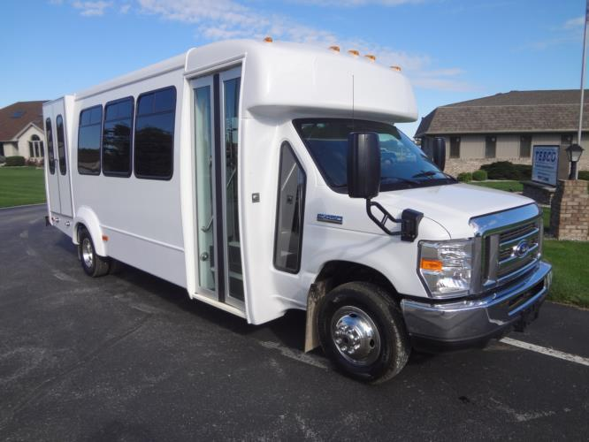 2021 Elkhart Coach ECII Ford 16 Passenger and 2 Wheelchair Shuttle Bus Passenger side exterior front angle-EC10600-1