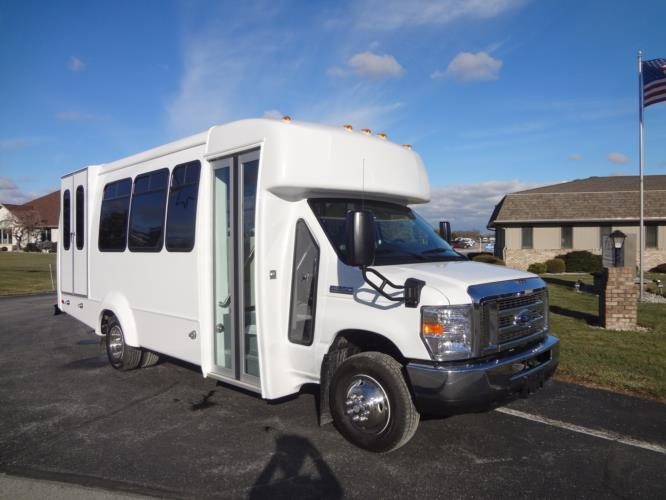 2019 Elkhart Coach ECII Ford 8 Passenger and 4 Wheelchair Shuttle Bus Passenger side exterior front angle-EC10674-1