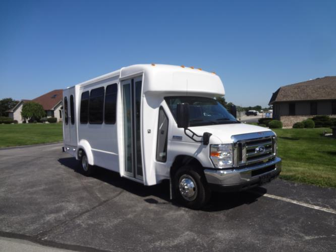 2019 Elkhart Coach ECII Ford 12 Passenger and 2 Wheelchair Shuttle Bus Passenger side exterior front angle-EC11200-1