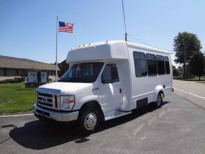 2019 Elkhart Coach ECII Ford 12 Passenger and 2 Wheelchair Shuttle Bus Driver side exterior front angle-EC11200-2