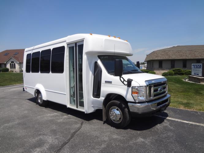2021 Elkhart Coach ECII Ford 14 Passenger Shuttle Bus Passenger side exterior front angle-EC11329-1