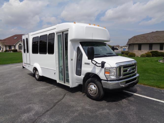 2022 Elkhart Coach ECII Ford 14 Passenger Shuttle Bus Passenger side exterior front angle-EC11694-1