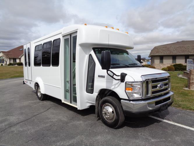 2020 Elkhart Coach ECII Ford 12 Passenger and 2 Wheelchair Shuttle Bus Passenger side exterior front angle-EC12268-1