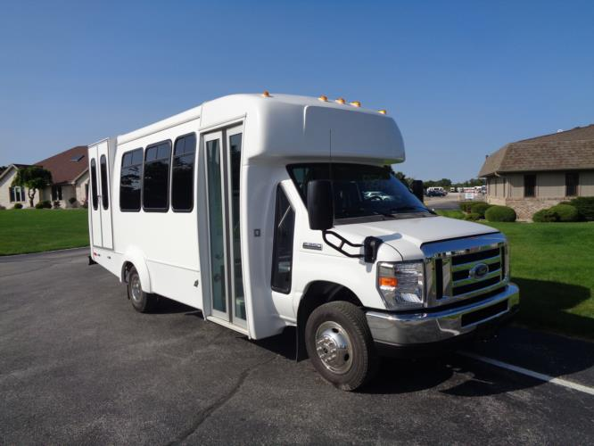 2020 Elkhart Coach ECII Ford 8 Passenger and 4 Wheelchair Shuttle Bus Passenger side exterior front angle-EC12320-1