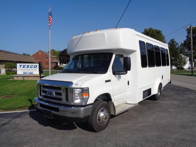 2020 Elkhart Coach ECII Ford 8 Passenger and 4 Wheelchair Shuttle Bus Driver side exterior front angle-EC12320-2