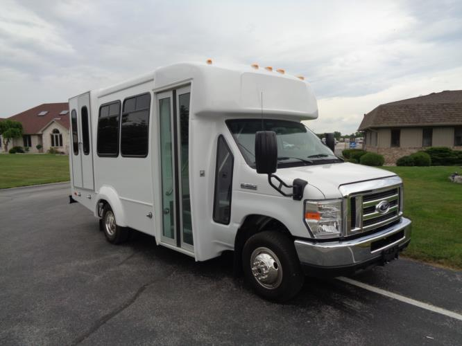 2020 Elkhart Coach ECII Ford 8 Passenger and 2 Wheelchair Shuttle Bus Passenger side exterior front angle-EC12324-1