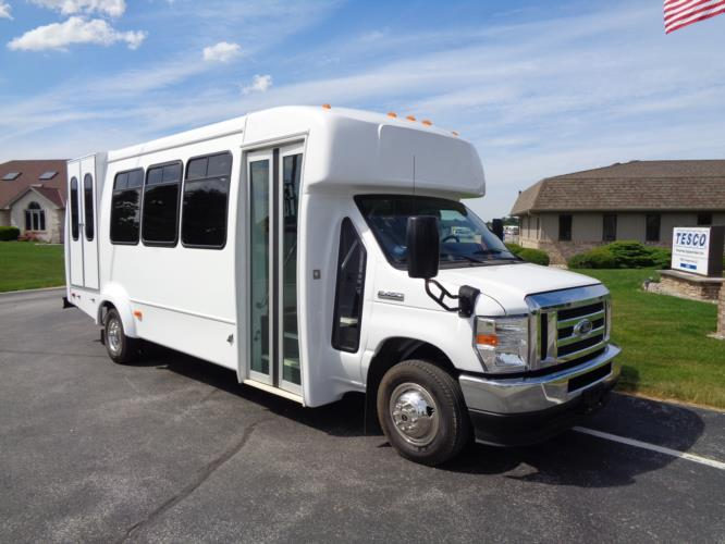 2021 Elkhart Coach ECII Ford 0 Passenger and 7 Wheelchair Shuttle Bus Passenger side exterior front angle-EC12384-1