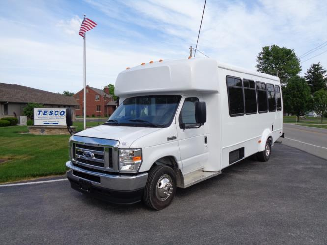 2021 Elkhart Coach ECII Ford 0 Passenger and 7 Wheelchair Shuttle Bus Driver side exterior front angle-EC12384-2