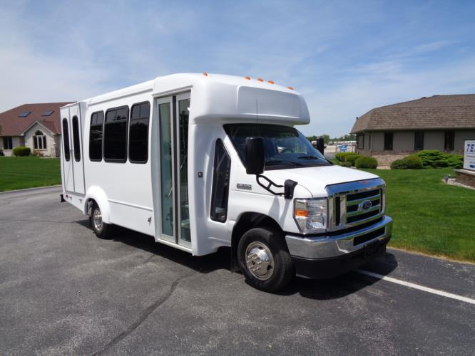 2022 Elkhart Coach ECII Ford 12 Passenger and 2 Wheelchair Shuttle Bus Passenger side exterior front angle-EC12405-1