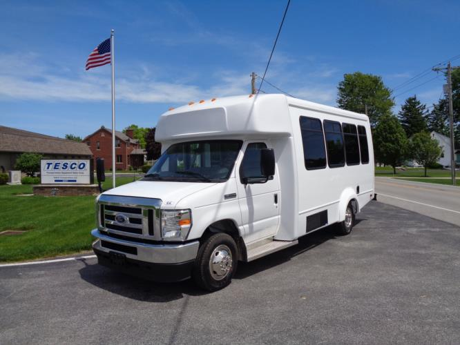 2022 Elkhart Coach ECII Ford 12 Passenger and 2 Wheelchair Shuttle Bus Driver side exterior front angle-EC12405-2