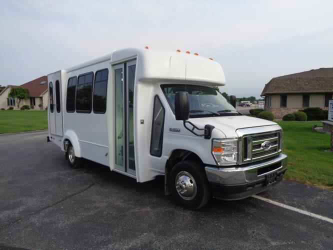 2021 Elkhart Coach ECII Ford 12 Passenger and 2 Wheelchair Shuttle Bus Passenger side exterior front angle-EC12414-1