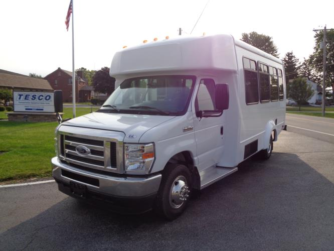 2021 Elkhart Coach ECII Ford 12 Passenger and 2 Wheelchair Shuttle Bus Driver side exterior front angle-EC12414-2