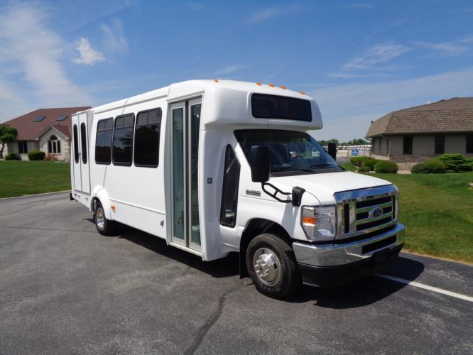 2021 Elkhart Coach ECII Ford 16 Passenger and 2 Wheelchair Shuttle Bus Passenger side exterior front angle-EC12427-1