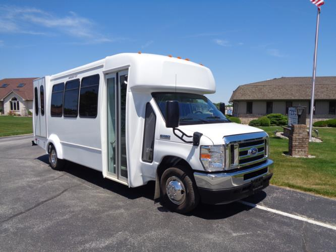 2021 Elkhart Coach ECII Ford 8 Passenger and 3 Wheelchair Shuttle Bus Passenger side exterior front angle-EC12446-1
