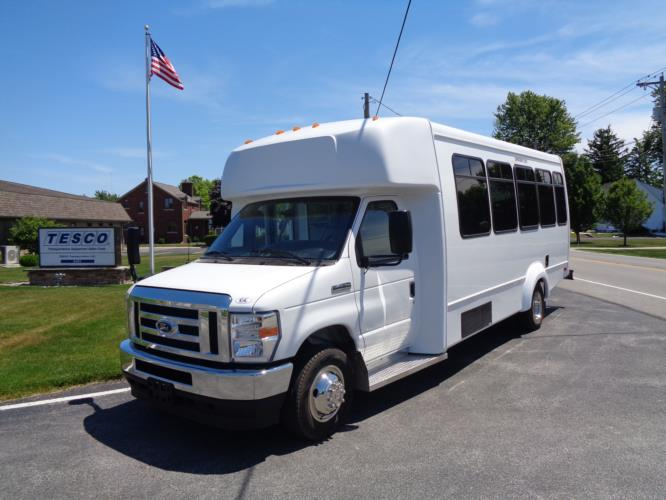 2021 Elkhart Coach ECII Ford 8 Passenger and 3 Wheelchair Shuttle Bus Driver side exterior front angle-EC12446-2