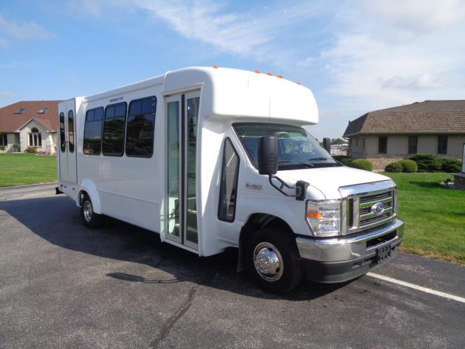 2021 Elkhart Coach ECII Ford 8 Passenger and 3 Wheelchair Shuttle Bus Passenger side exterior front angle-EC12451-1