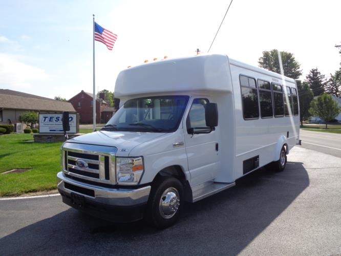 2021 Elkhart Coach ECII Ford 8 Passenger and 3 Wheelchair Shuttle Bus Driver side exterior front angle-EC12451-2