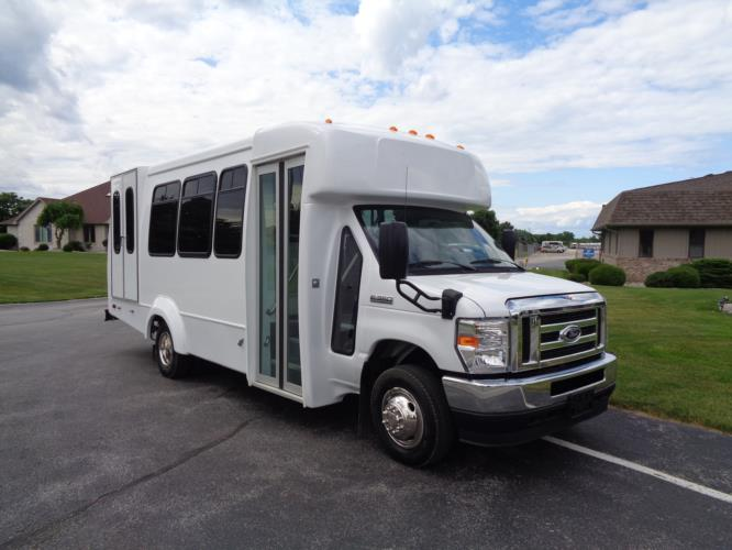 2021 Elkhart Coach ECII Ford 8 Passenger and 4 Wheelchair Shuttle Bus Passenger side exterior front angle-EC12499-1