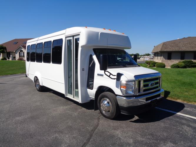 2021 Elkhart Coach ECII Ford 25 Passenger Shuttle Bus Passenger side exterior front angle-EC12601-1