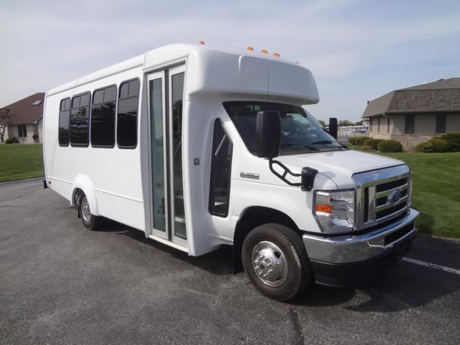2022 Elkhart Coach ECII Ford 14 Passenger Shuttle Bus Passenger side exterior front angle-EC13010-1