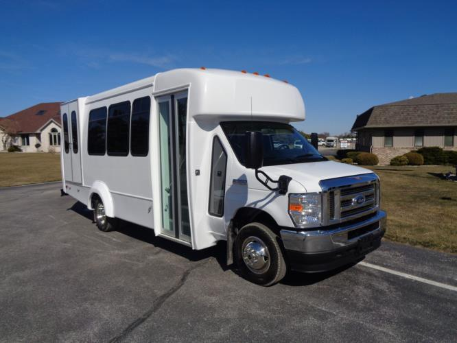 2022 Elkhart Coach ECII Ford 8 Passenger and 4 Wheelchair Shuttle Bus Passenger side exterior front angle-EC13106-1