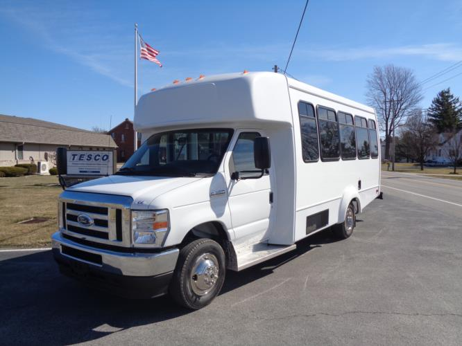 2022 Elkhart Coach ECII Ford 8 Passenger and 4 Wheelchair Shuttle Bus Driver side exterior front angle-EC13106-2