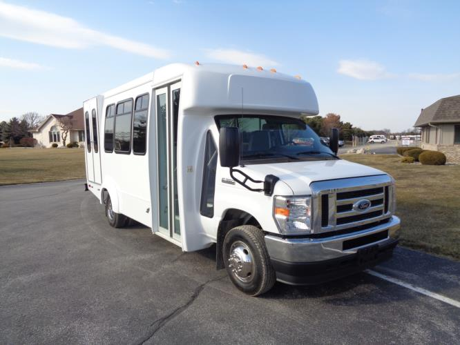 2022 Elkhart Coach ECII Ford 12 Passenger and 2 Wheelchair Shuttle Bus Passenger side exterior front angle-EC13124-1