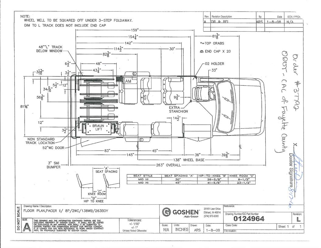 goshen coach pacer ii bus with a ford e350 drw chassis rh tescobus com Goshen 2001 Parts Goshen Coach Wiring Diagram Light