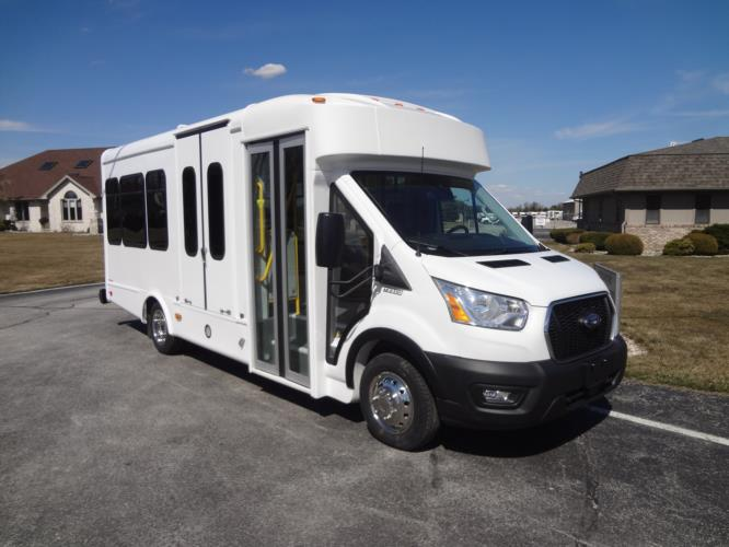 2021 Glaval Commute Ford 8 Passenger and 2 Wheelchair Shuttle Bus Passenger side exterior front angle-GL101698-1