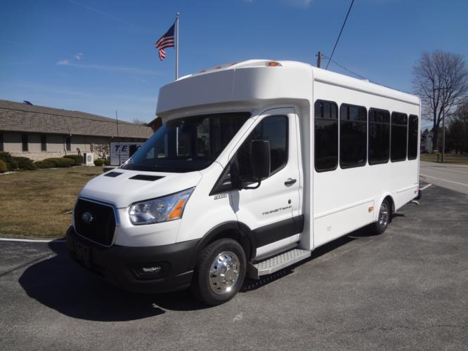 2021 Glaval Commute Ford 8 Passenger and 2 Wheelchair Shuttle Bus Driver side exterior front angle-GL101698-2