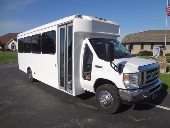 2018 Glaval Universal Ford 24 Passenger Shuttle Bus Passenger side exterior front angle-GL20863-1