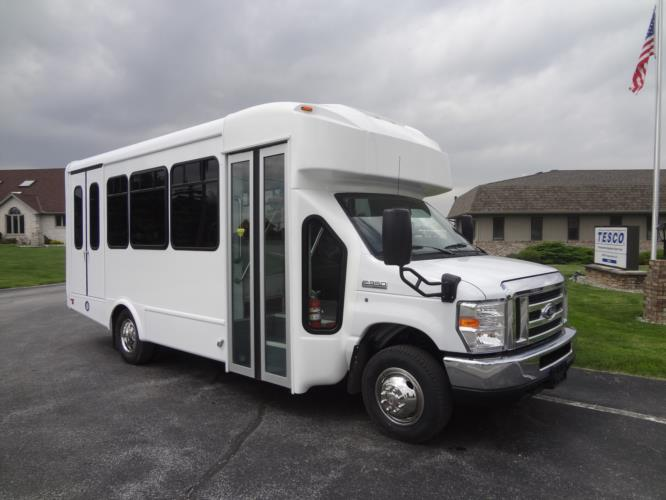 2021 Glaval Universal Ford 10 Passenger and 3 Wheelchair Shuttle Bus Passenger side exterior front angle-GL91938-1