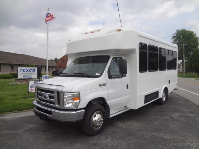 2021 Glaval Universal Ford 10 Passenger and 3 Wheelchair Shuttle Bus Driver side exterior front angle-GL91938-2