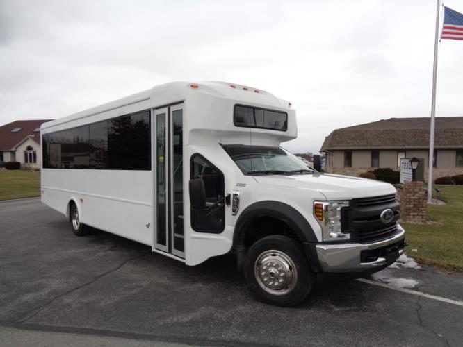 2020 Glaval Entourage Ford 29 Passenger Shuttle Bus Passenger side exterior front angle-GL94184-1